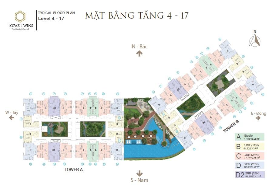 Bán căn hộ 5* Topaz Twins Biên Hòa 2PN,tầng đẹp căn góc view hướng đông, hồ bơi, tiện ích chăm sóc sức khỏe - LH 0945 255 207